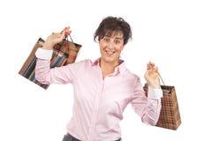 Frauenholding-Einkaufenbeutel lizenzfreies stockbild