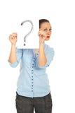 Frauenholding-Fragezeichen Stockfoto
