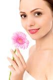 Frauenholding Gerberagänseblümchen Lizenzfreie Stockbilder
