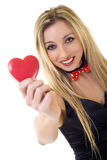 Frauenholding Valentinsgruß-Tagesinneres Stockfotografie
