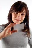 Frauenholding-Visitenkarte Lizenzfreies Stockfoto