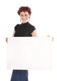 Frauenholdinganschlagtafel stockbild