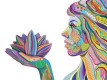 Frauenholdingblume, helles Muster Lizenzfreies Stockfoto
