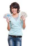 Frauenholdingdollar und -euro Lizenzfreie Stockbilder