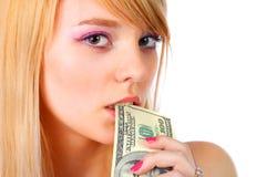 Frauenholdinggeld Stockfotografie