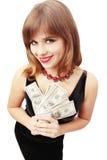 Frauenholdinggeld Lizenzfreie Stockfotografie