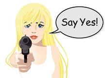 Frauenholdinggewehr Lizenzfreie Stockfotos
