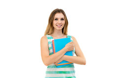 Frauenholdingnotizbücher lizenzfreie stockfotografie