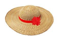 Frauenhut mit rotem Band und Bogen lokalisiert auf Weiß Stockfoto