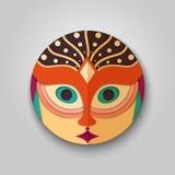Frauenikone im Maskendesign Stockbilder