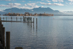 Fraueninsel in Lake Chiemsee during sunset Royalty Free Stock Images