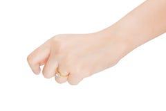 Frauenisolat des Ringes in der Hand auf weißem Hintergrund Stockfotografie