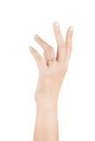 Frauenisolat des Ringes in der Hand auf weißem Hintergrund Stockfotos