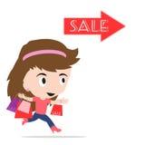 Frauenkarikatur mit der Einkaufstasche, die am Verkaufsfestivalereignis, auf weißem Hintergrund, Vektorillustration im flachen De Lizenzfreie Stockfotografie