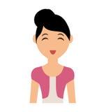 Frauenkarikaturikone Personendesign Dekorativer Hintergrund als stilisiert Strudel der Wellen vektor abbildung