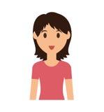 Frauenkarikaturikone Personendesign Dekorativer Hintergrund als stilisiert Strudel der Wellen stock abbildung