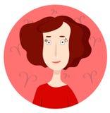 Frauenkarikaturporträt, das Aries Zodiac Sign representating ist Stockbild