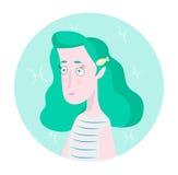 Frauenkarikaturporträt, das Fisch-Sternzeichen represntating ist Stockfoto