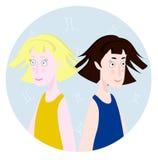 Frauenkarikaturporträt, das Gemini Zodiac Sign represntating ist Lizenzfreie Stockfotos