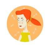 Frauenkarikaturporträt, das Saggitarius-Sternzeichen darstellt Stockbilder
