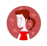 Frauenkarikaturporträt, das Skorpions-Sternzeichen darstellt Lizenzfreie Stockbilder