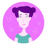 Frauenkarikaturporträt, das Taurus Zodiac Sign darstellt Lizenzfreie Stockfotografie