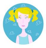 Frauenkarikaturporträt, das Waage-Sternzeichen darstellt Stockbilder