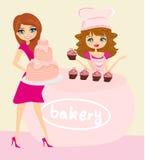 Frauenkaufenkuchen an einem Bäckereispeicher vektor abbildung
