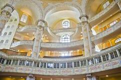 Frauenkirche大教堂内部,德累斯顿 免版税库存照片