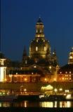 Frauenkirche τή νύχτα Στοκ Φωτογραφία