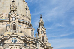 Frauenkirche细节在德累斯顿 免版税库存照片