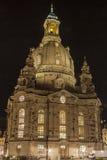 Frauenkirche bij Nacht stock afbeelding