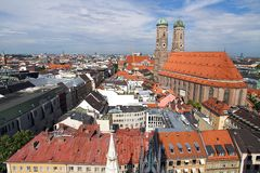 Frauenkirche Cathedral Church in Munich (2). Frauenkirche Cathedral Church in Munich (Munchen), Germany. View from New Town hall (Neues Rathhaus Stock Photography