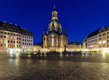 Frauenkirche church in Dresden at evening, Germany. Royalty Free Stock Photos