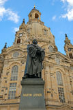 Frauenkirche  Dresden. The Frauenkirche in Dresden, with the statue of Martin Luther Royalty Free Stock Photography