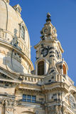 Frauenkirche in Dresden detail at beautiful blue sky Royalty Free Stock Photo