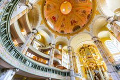 Frauenkirche, Dresden, Germany. DRESDEN, GERMANY - 9 AUGUST 2015: Dresden, Germany. The interior of the Frauenkirche cathedral. Frauenkirche was completed in Royalty Free Stock Photography