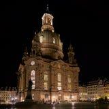 Frauenkirche i den gamla staden av Dresden Arkivbild