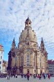 Frauenkirche kyrka i Dresden, Tyskland Fotografering för Bildbyråer