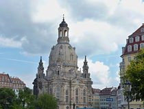 Frauenkirche. Is a Lutheran church in Dresden, Germany. The original baroque church was built between 1726-1743 royalty free stock photo