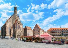 Frauenkirche and main market in Nuremberg Royalty Free Stock Photography