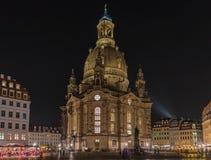 Frauenkirche Martin Luther zabytku nocy scena Drezdeńska, Niemcy zdjęcie stock
