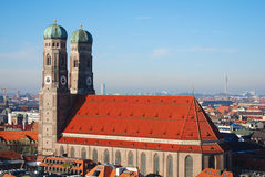 Frauenkirche Munich. Taken from a nearby steeple Stock Photos