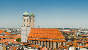 The Frauenkirche or Munich Cathedral is a church in the Bavarian city of Munich, Germany. It is a landmark and is considered a symbol of the Bavarian capital Stock Photo
