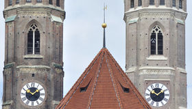 Frauenkirche Munich detail. The domes of the Frauenkirche in Munich Bavaria Royalty Free Stock Image