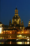 Frauenkirche by night. This Photo is made from the riverside of the elbe. You see the Frauenkirche (church of our lady Stock Photography