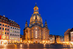 Frauenkirche at night in Dresden, Germany Royalty Free Stock Photos