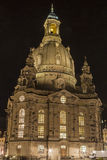 Frauenkirche at night. Fully highlighted. Dresden, Saxony land, Germany Stock Image