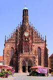 Frauenkirche, Nuremberg. Gothic facade of the Frauenkirche with market stalls, Nuremberg, Germany Stock Images