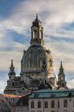 Frauenkirche before the sunset. Dresden Frauenkirche's dome seen from the other side of Elbe Royalty Free Stock Photo
